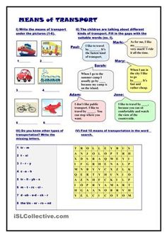 ... | Worksheets, Vocabulary worksheets and Transportation crafts