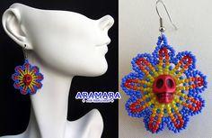 Huichol Skull Earrings 071 Mexican Jewelry Mexican earrings