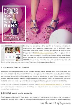 """How to Launch Your Blog with a Bang: From a true success story"" Great guest post on the site today by WifeMomSuperwoman.com's talented founder & blogger. Check out her 6 power tips! http://byregina.com/how-to-launch-your-blog/"