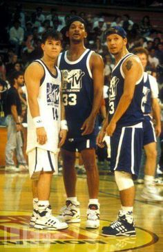 Mark Wahlberg, Will Smith,  and Donnie Wahlberg at 1991 MTV Basketball Game