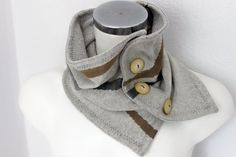 Male beige scarf Button infinity scarf gray by Nazcolleccolors
