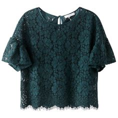 Cropped Ruffled Sleeve Lace Blouse MADEMOISELLE R ($105) ❤ liked on Polyvore featuring tops, blouses, flutter sleeve top, cut-out crop tops, flutter sleeve blouse, blue crop top and lace crop top