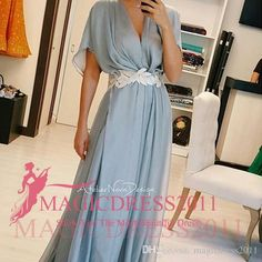 Elegant Sky Blue Evening Dresses Short Sleeve Chiffon Arabic Prom Formal Gowns 2015 Occasion Dress A-Line V-Neck Celebrity Custom Made Online with $79.22/Piece on Magicdress2011's Store | DHgate.com