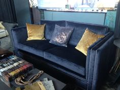For Sale. Double Stud Detail with metallic fabric on seat cushion edges. Velvet Sofa, Bespoke Furniture, Seat Cushions, Graphite, Design Projects, Metallic, Couch, Detail, Fabric