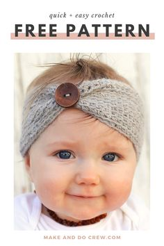 Quick & Easy Crochet Baby Headband - Free Pattern This simple, free crochet baby headband from Make & Do Crew is so quick and easy that it makes the perfect DIY baby shower or last-minute gift. Includes adult sizes so you and your little one can match! Baby Girl Crochet, Crochet Baby Hats, Easy Crochet, Baby Knitting, Crochet Baby Outfits, Crochet Baby Stuff, Knitted Baby, Free Knitting, Baby Headband Tutorial