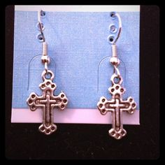 Buy 2 Get 3 FREE! Cross earrings Handmade silver tone cross earrings crystal iris design Jewelry Earrings