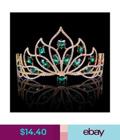 $14.4 - 8Cm High Adult Big Green Golden Full Crystal Tiara Crown Wedding Pageant Prom #ebay #Fashion