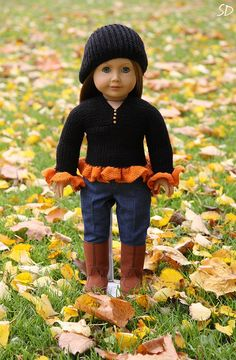 American Girl Halloween sweater set by StassyDodge on Etsy. Why is Latvia so far away? American Girl Halloween, My American Girl, American Girl Crafts, American Doll Clothes, Ag Doll Clothes, Crochet Doll Clothes, America Girl, Journey Girls, Sweater Set