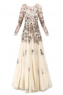 Off White and Antique Gold Floral Work Gown #asthanarang #shopnow #ppus #happyshopping