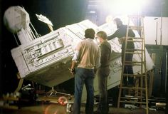 "Working on the Star Destroyer miniature for ""Empire Strikes Back"""