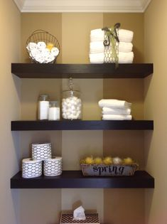 how to decorate a floating shelf in bathroom | Floating shelves decorated for spring
