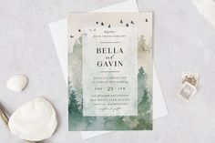 Forest Wedding Invitation Template by PL Papers Forest Wedding Invitations, Printable Wedding Invitations, Bridal Shower Invitations, Invites, Stationery Paper, Woodland Wedding, Colorful Backgrounds, Wedding Ceremony, Place Card Holders