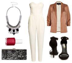 White jumpsuit blazer black heels