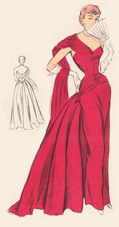 Vintage Sewing Pattern 1950's Evening Ball Gown in Any Size - PLUS Size Included…