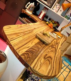 An unusual bespoke full stave zebrano worktop that doubles as a curvy breakfast bar. Breakfast Bars, Work Tops, Golden Brown, Bar Ideas, Jasper, Bespoke, Kitchen Ideas, Kitchens, New Homes