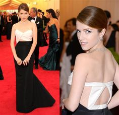 Anna Kendrick has a singular ability to impress in a completely relatable and non-threatening way, as she does in this straightforward, black-and-white J. Mendel creation with flirty cutouts in the front and back. Heck, even her diamonds are relatable.