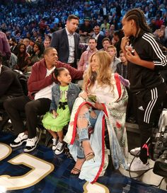 Blue Ivy, Dad Jay Z, Mom Beyonce at 2017 All Star Game in New Orleans