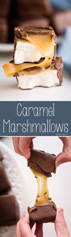 the perfect soft caramel with a soft homemade marshmallow then dipped in chocolate - an easy recipe with tips and tricks and video tutorial desserts marshmallow Chocolate Covered Caramel Marshmallow recipe - copycat Scotchmallows Caramel Marshmallow Recipe, Recipes With Marshmallows, Homemade Marshmallows, Homemade Candies, Caramel Recipes, Candy Recipes, Chocolate Recipes, Sweet Recipes, Chocolate Desserts