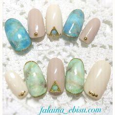 天然石nail♡ #gelnails #gelnaildesign #gelnailart #nail #nailart #nails #naildesigns #nailstagram #instanail #ネイル #ネイルデザイン #ジェルネイル #ジェルネイルデザイン #ジェルアート #大人ネイル#夏ネイル#ターコイズ#海#シンプルターコイズ