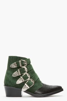 TOGA PULLA Green suede & Silver western buckle boot
