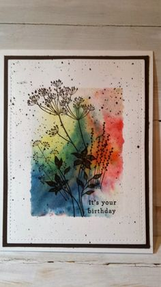 Brusho acrylic block stamping by Gramma Sarah – Cards and Paper Crafts at Splitcoaststampers - Keramik Projekte Birthday Cards For Son, Special Birthday Cards, Handmade Birthday Cards, Watercolor Birthday Cards, Watercolor Cards, Making Greeting Cards, Greeting Cards Handmade, Card Making Techniques, Brusho Techniques