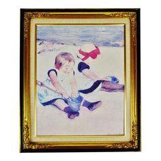 Vintage Framed Mary Cassatt Children Playing on Beach Print