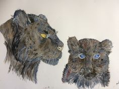 "Black panther and cub in watercolour entitled ""Mama I Love You"""