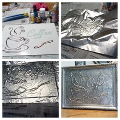Foil coffee picture i printed a pattern and glued it to a board then i piped hot glue over the pattern after it dried i spread glue stick over the whole thing i pressed on heavy foil shiny side down starting in the center and being careful not to tear the Tin Foil Art, Aluminum Foil Art, Aluminum Can Crafts, Metal Crafts, Glue Gun Projects, Glue Gun Crafts, Art Projects, Hot Glue Art, Glue Painting