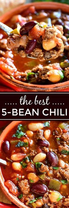 This 5 Bean Turkey Chili is loaded with fresh ingredients and packed with flavor. This 5 Bean Turkey Chili is loaded with fresh ingredients and packed with flavor. A deliciously satisfying meal that& also quick & easy to whip up! Chili Recipes, Soup Recipes, Dinner Recipes, Cooking Recipes, Healthy Recipes, Cake Recipes, Slow Cooking, Salad Recipes, Al Dente