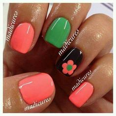 Coral, Green, and Flower on Black Accent Finger Nails Only, Get Nails, Fancy Nails, Pink Nails, Pretty Nails, Nagellack Design, Toe Nail Designs, Fabulous Nails, Flower Nails