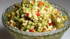 A warm lovely vinaigrette dressing, with just a bit of sugar, is poured over a bowl of fresh and canned veggies and popped into the fridge. Twenty-four hours you have green bean-corn-celery-pea-corn-pimento-delight.