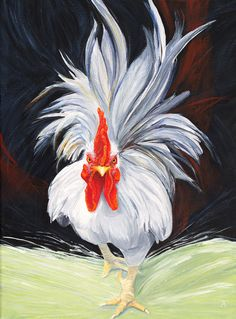 Chicken Print I Feel The Earth Move Rooster Giclée Print Of Original Acrylic Painting Quot I Feel The Earth Move Quot Rooster Giclée Print From Original Acrylic Painting By Tracy Anderson Rooster Painting, Rooster Art, Painting On Wood, Rooster Funny, Painting Shower, Chicken Painting, Chicken Art, Watercolor Paintings, Original Paintings