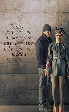 """Haymitch Abernathy and Effie Trinket from the Hunger Games with lyrics form """"Stay"""" by Rihanna"""