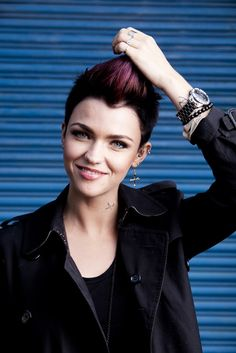 Ruby Rose. Hella cute purple fauxhawk.