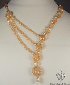 Peach cascade necklace N1052 by Fleur-de-Irk.deviantart.com on @deviantART