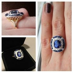 bague de fiancailles saphir et diamants Mademoiselle Irbis sur Mademoiselle Dentelle