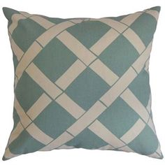The Pillow Collection Square Throw Pillow in Teal and White
