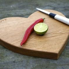 Food made by Mum with love! Chop with elegance on your own personalised wooden heart shaped chopping board.