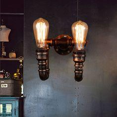 B028 Loft pays D'amérique style Industriel Fer Rétro Paroi de la conduite D'eau lampes Vintage Éclairage E27 Edison ampoule Appliques murales(China (Mainland))