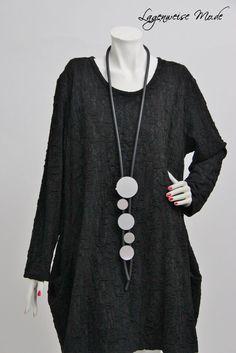 ♦ Lagenlook edle Kautschuk-Kette, schwarz-silber Scheiben, lang (42) ♦ | eBay