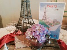 Paris centerpiece for travel themed wedding at Pierce Castle--Mississippi's Premiere Wedding and Event Venue in Decatur, Mississippi. PierceCastleMS.com