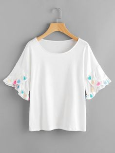 #AdoreWe #SheIn SheIn Drop Shoulder Petal Sleeve Tassel Trim Tshirt - AdoreWe.com