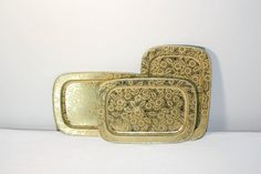 Set of Gold Floral Metal Tray's Three Small by SeacoastVintage, $13.50
