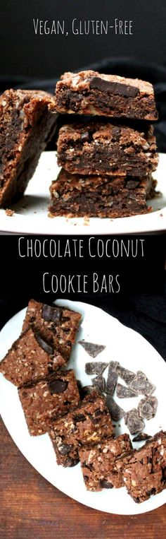 Chocolate Coconut Cookie Bars, vegan, gluten-free - holycowvegan.net