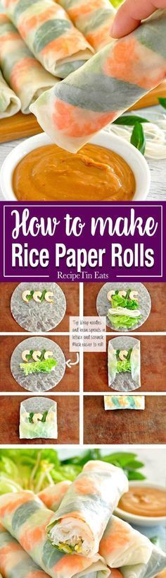 Fresh and healthy Vietnamese rice paper spring rolls with an amazing peanut sauce. Plus TWO secret tips to make it super easy to roll them… Healthy Recipes Vietnamese Rice Paper Rolls Vegetarian Recipes, Cooking Recipes, Healthy Recipes, Cooking Ideas, Dishes Recipes, Recipes Dinner, Rice Recipes, Cooking Food, Snacks