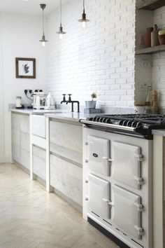 Aga and painted brick