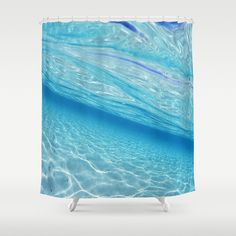 Beach Ocean Water Waves Photography Blues Underwater Pool Shower Curtain by Walk On Water  | Society6