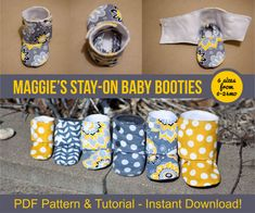 Maggie's Stay-On Baby Booties Sewing Tutorial Printable PDF Baby Sewing Patterns Instant Download DIY Baby Gift Downloadable Boot Shoe