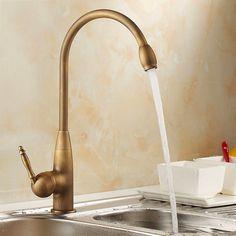 Fashion Antique brass Kitchen Swivel Basin Sink Deck Mounted torneira cozinha single Handle Faucet mixer Tap