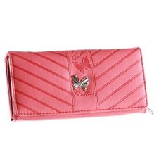 "Patzino ""Butterfly Stripe"" Women's Flap Wallet Purse- ID Window/ Card Slots/ Cash and Zippered Coin Pocket (EEWA40Y) (Pink) PATZINO. $9.99"
